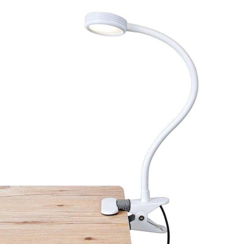 LEPOWER Metal Clip Desk Lamp – (White)