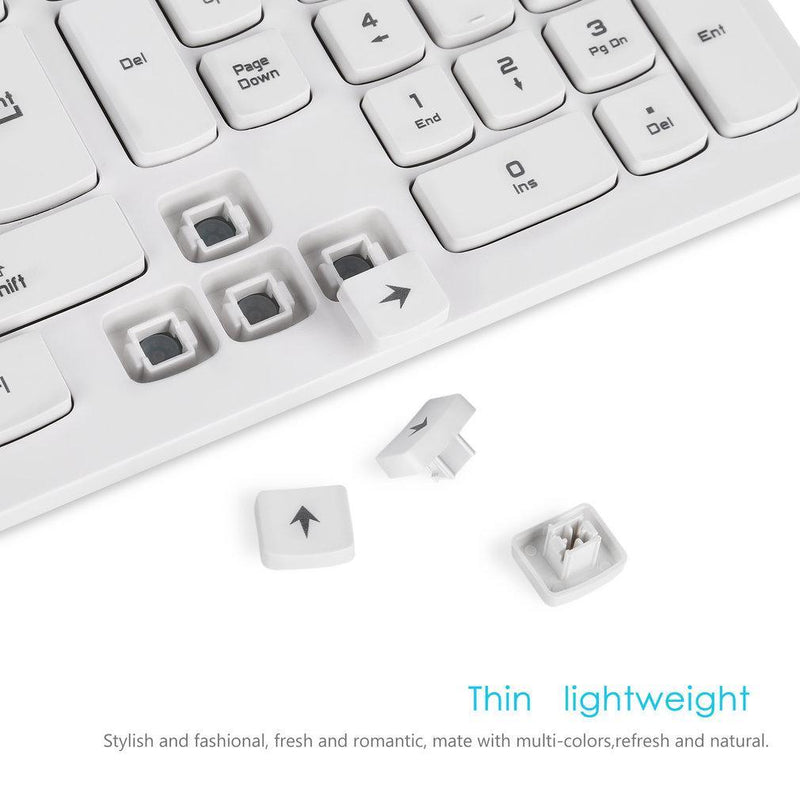 LESHP Ultra-thin Chocolate Wired Keyboard Desktop Office Home Games Slim Mute Computer 104 Keys Full-size Ergonomic Design (White)