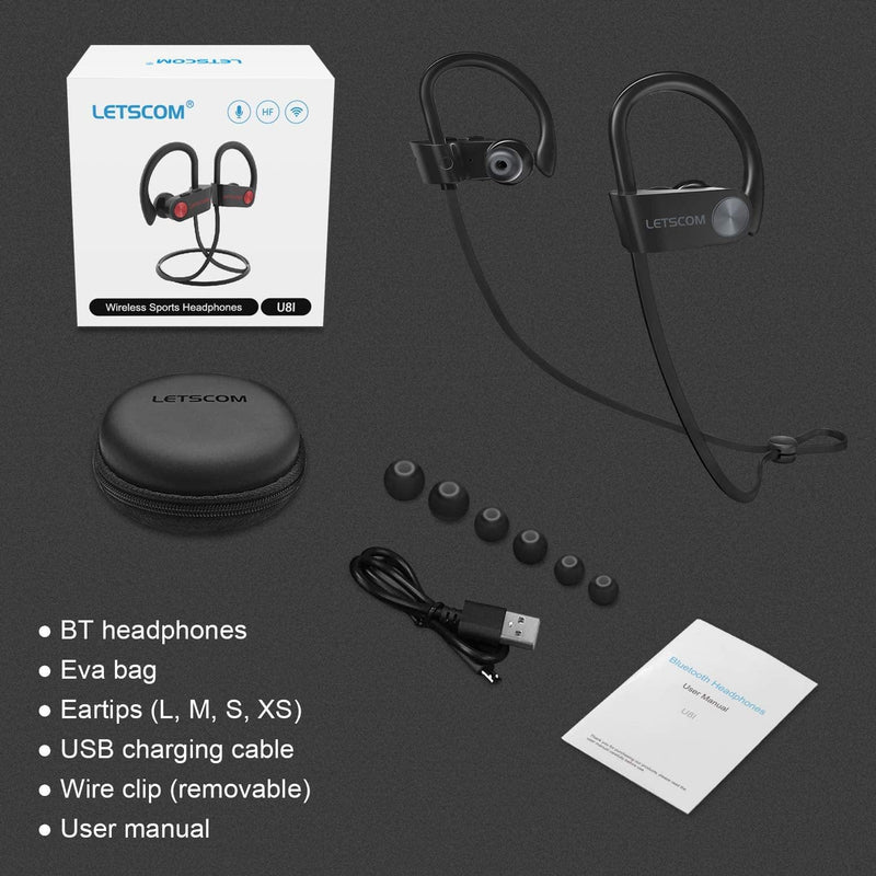 LETSCOM Wireless Bluetooth V5.0 Sport IPX7 Waterproof Earphones With Mic-Model:U81-(Black)