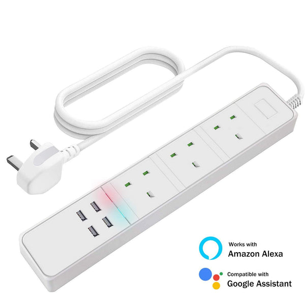 LIMINK Smart Protable Socket Wi-Fi  Protector with Alexa Google 3 AC Outlets 4 USB Port, Remote & Voice Control- Model: SH-20 (White)