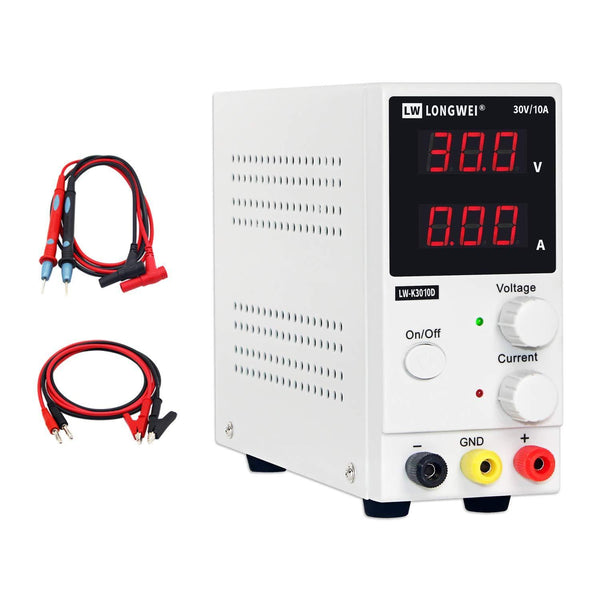 LONG WEI 30V/10A Adjustable Digital DC Power Supply: Model: LW-K3010D (White)