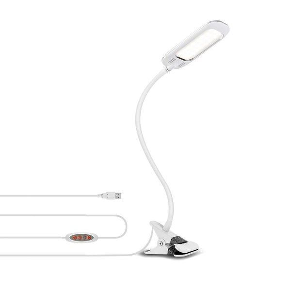 LVWIT Dimmable Bright 5W USB Max Clip Led Lights Desk Lamp - Model:SD-TA002 (White)
