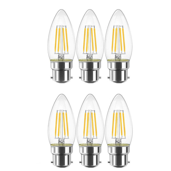 LVWIT LED Filament Candle Bulb Pack of 6 - (4W B22) - (Warm White)