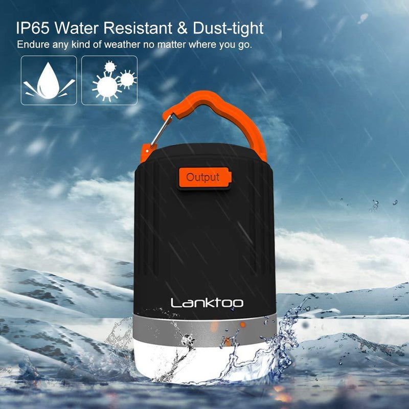 Lanktoo 2 in 1 Rechargeable Camping Lantern & Power Bank-Model:YS-CL4 (Black-Orange)
