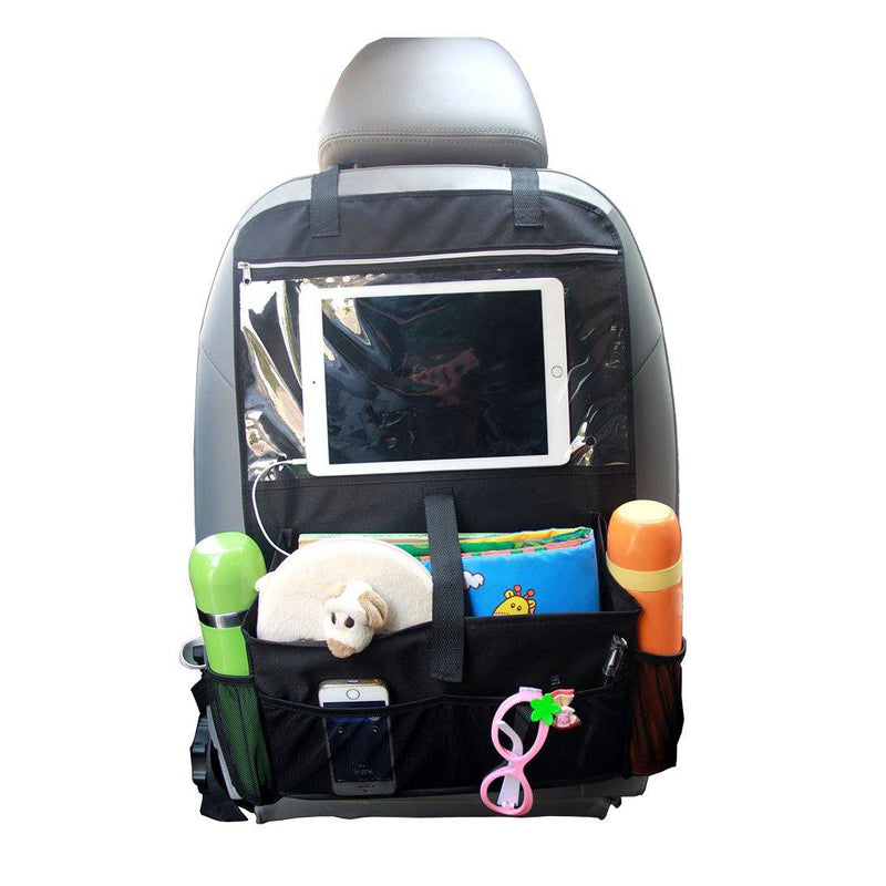 MISSLO Car Back Seat Organiser Multi-Pocket Travel Storage With Touch Screen Ipad Holder - (Black)