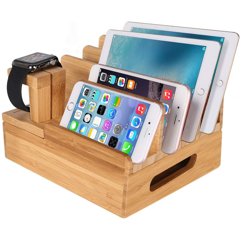 MOZOWO Bamboo Wood Multi-Device Desktop Charging Dock Station- Colour (Wood)