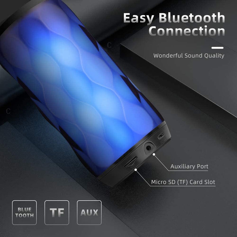 MUBYTREE Bluetooth Speaker Portable 7 Color Lights Loud Bass Stereo Built-In Mic Hand-free Calling 33ft 3W 1200MAH- Model: BTS-703 (Black)