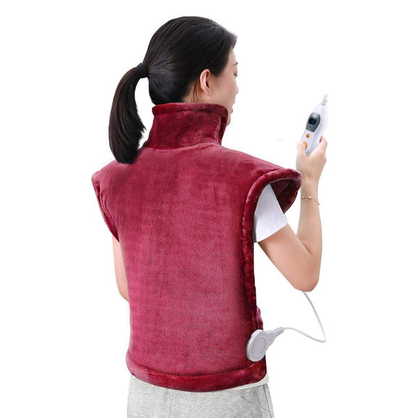 "MaxKare Electric Heating Pad, Neck, Shoulder and Back Heating Wrap Keep Your Body Warm, Fast-Heating 6 Temperature Settings, Auto Shut Off 24'' x 33"" - Model: HP05E-6090 - (Dark Red) - DealsnLots"