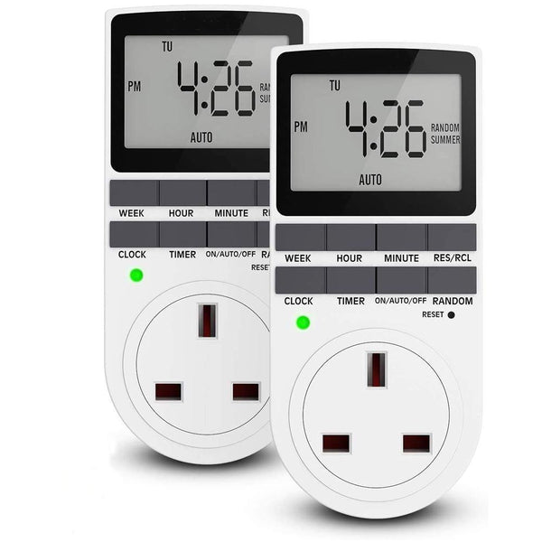 Maxcio TM02 Digital Programmable Plug Timer Socket, 13A/2900W (2 Pack) - DealsnLots
