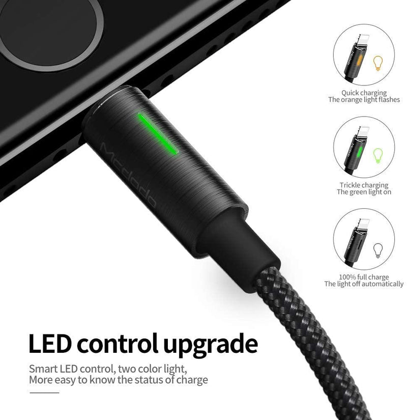 Mcdodo Nylon Braided Lightning USB Data Sync Led Smart Cable 1.8m, (Black/Silver) - DealsnLots