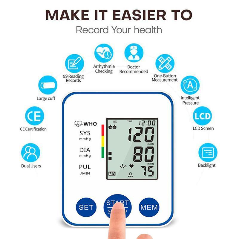 Microcomputer Intelligent Automatic Blood Pressure Monitor Upper Arm With LCD Display & Large Cuff Home BP Heart Pulse Meter - DealsnLots