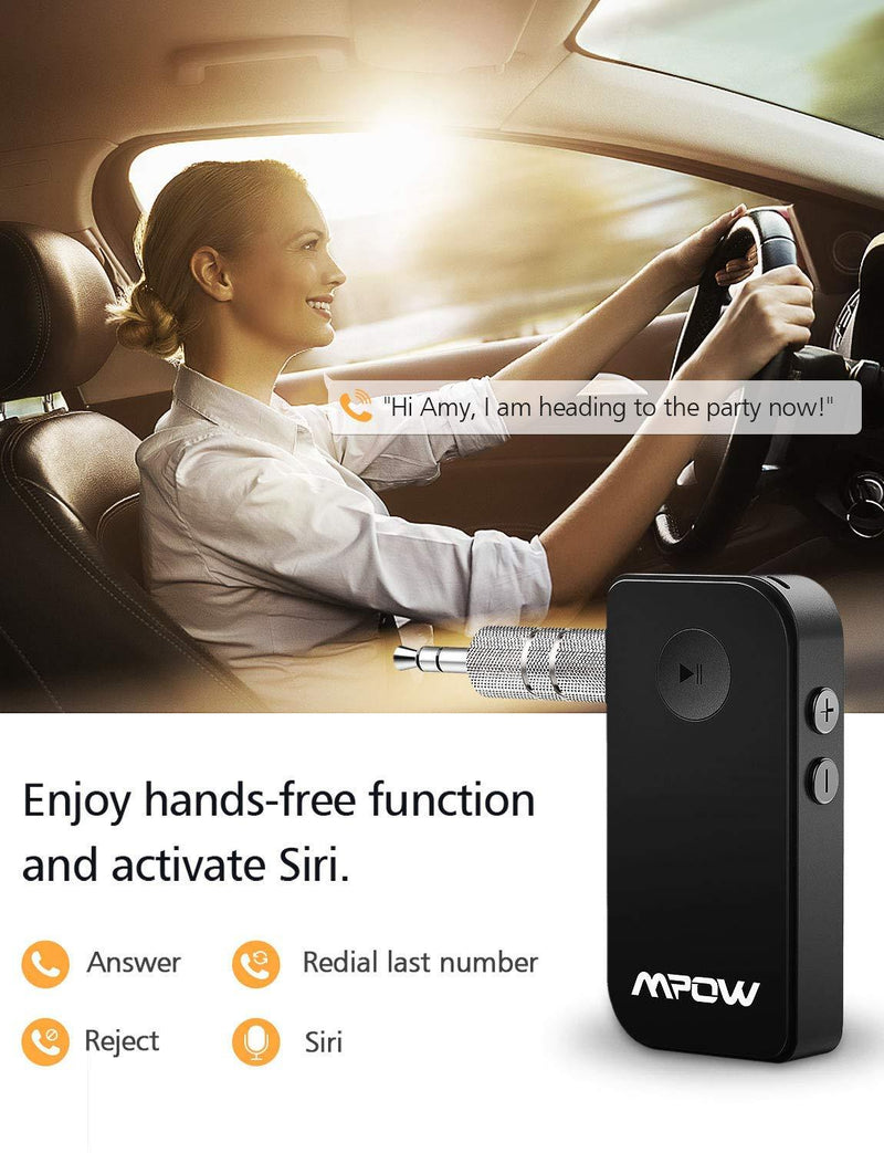 Mpow Bluetooth Receiver, Wireless Bluetooth 4.1 Car Adapter & Bluetooth Car Aux Adapter Model:MPBH044CB (Black)