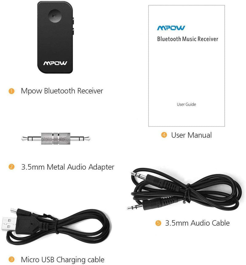 Mpow Bluetooth Receiver, Wireless Bluetooth 4.1 Car Adapter & Bluetooth Car Aux Adapter Model:BH044 (Black)