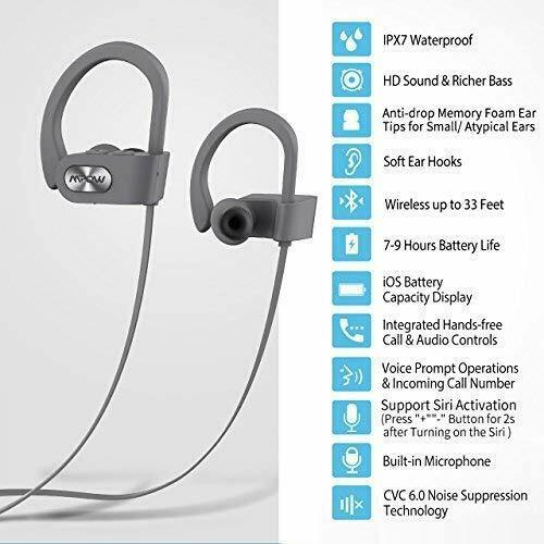 Mpow Sports Bluetooth Earphones – IPX7 Water Resistant – Model: MPBH088AH-(Silver) - DealsnLots