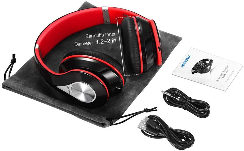 Mpow Bluetooth Headphones Over Ear, Hi-Fi Stereo Wireless Headset Model: BH059A (Red)