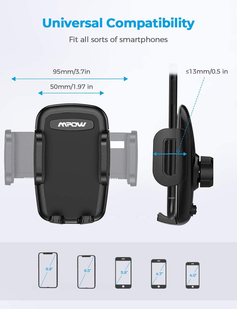 Mpow Car Phone Mount, Air Vent Phone Holder, 3-Level Adjustable Clip, Rotatable Phone Mount -Model: MPCA040BB - (Black)