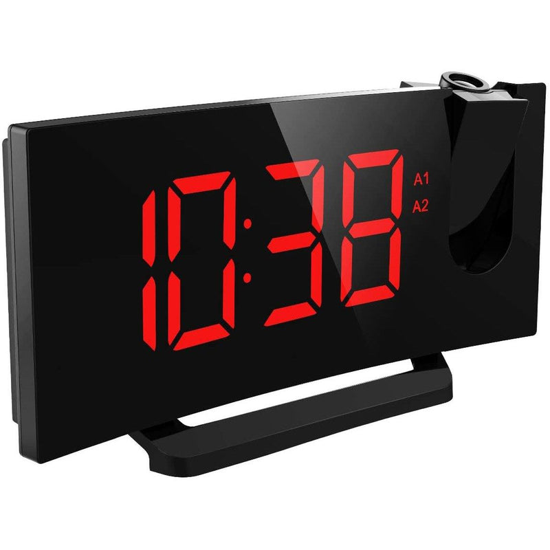 "Mpow Projection Clock,  Digital Alarm Clock, 5 '' LED Display with Dimmer, Red, 5 ""LED Display (Black)"