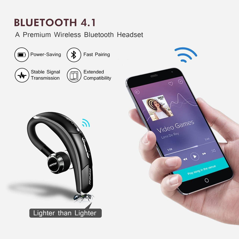 Mpow Bluetooth Earphone-Model: MPBH028AS-(Black)