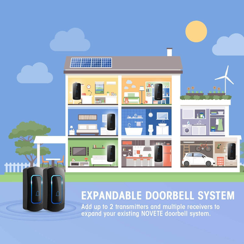 NOVETE Wireless Doorbell, Waterproof 1 Push Button and 2 Plug-in Receivers with LED Flash,-(Black)