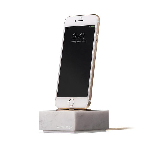 Native Union Dock+ Charging Dock for iPhone Marble Edition - White
