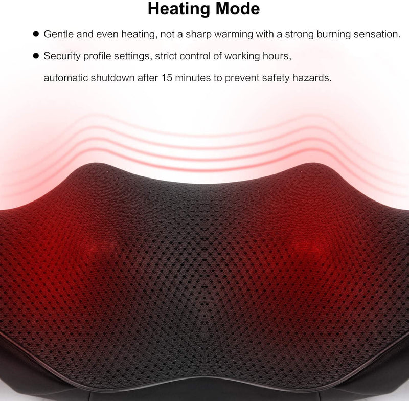 NEXUS Neck Massager, Shiatsu Back Massagers with Heat Function (Black)