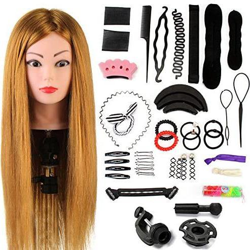 Neverland Hairdressing Practice Mannequin Head With Clamp + Hair Styling Braid Set, 24 Inch, 60% Real Human Hair (Brown)