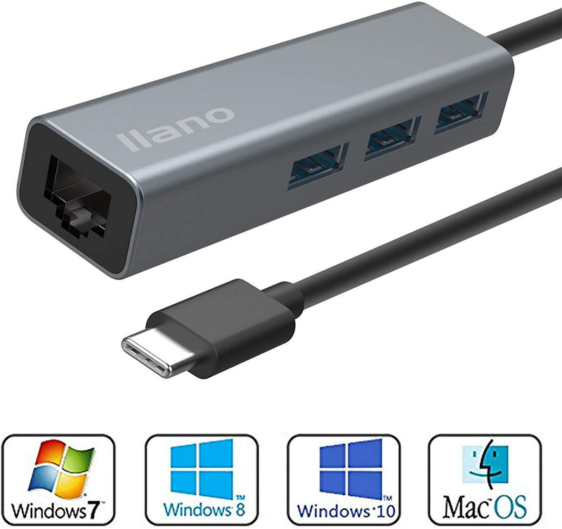 Nllano USB-C3.0 to Lan Ethernet Adapter, Aluminum Alloy Typc-C (Gray)