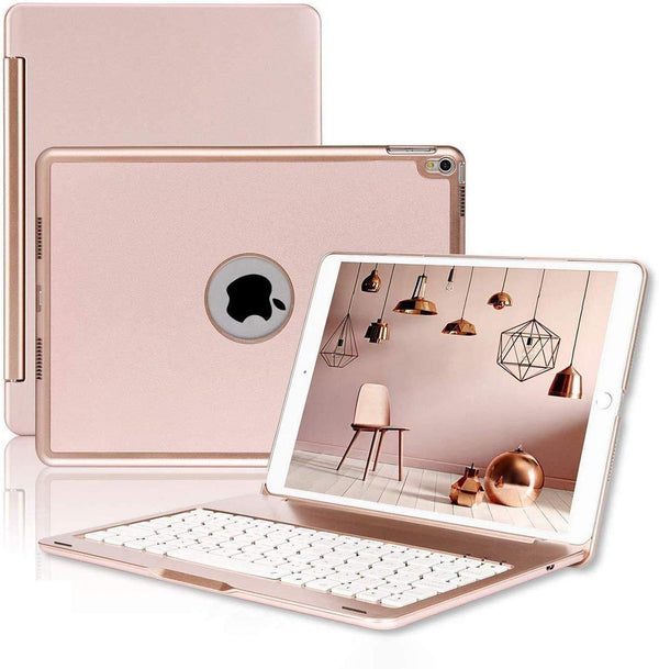 NoteKee Wireless Keyboard Case for iPad Air -iPad Pro (Rose Gold)