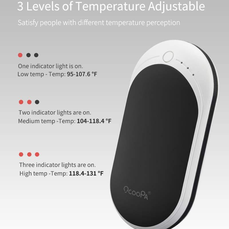 OCOOPA Rechargeable Hand Warmers, Power Bank Type-c Charging - Model : ZLS-118S - (Black-White)