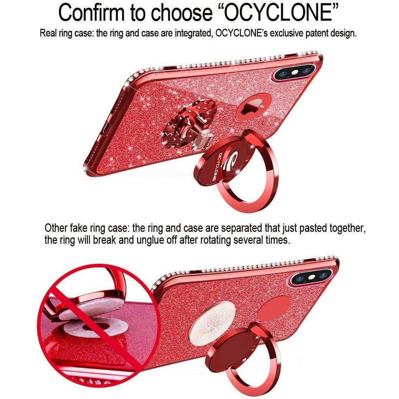 OCYCLONE Cute iPhone Xs Max Case, Glitter Luxury Bling Diamond Rhinestone Bumper with Ring Grip Kickstand Protective Case for Women Girl - (Red)