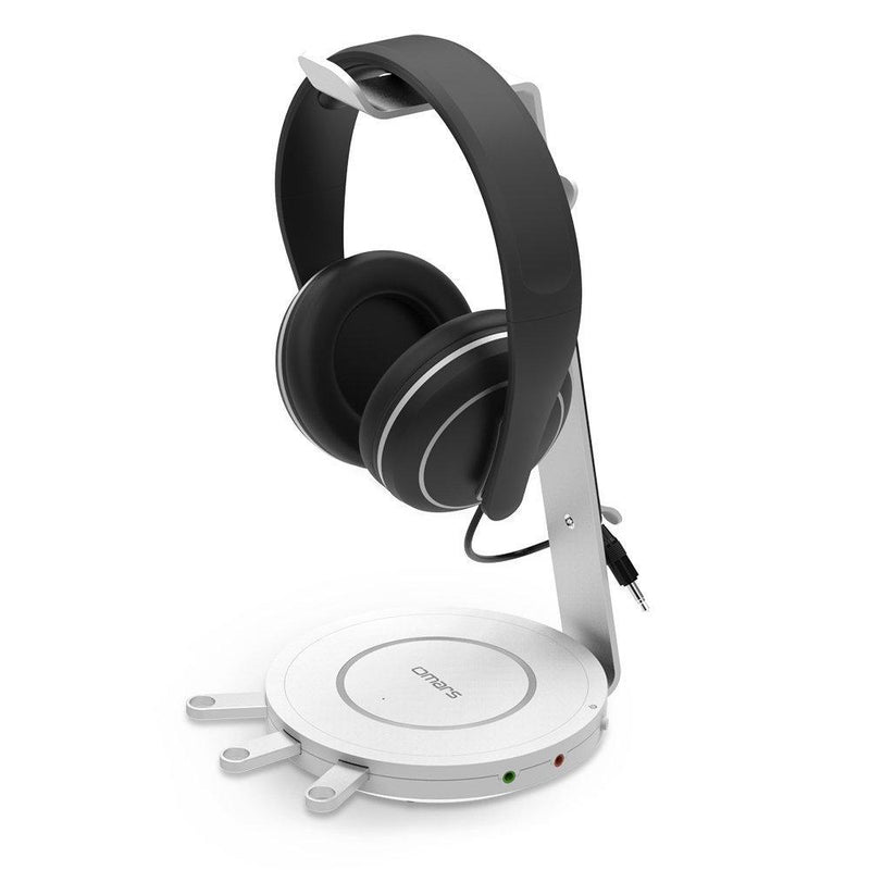 OMARS Headphones Stand Aluminum Headset Holder with USB 3.0 Ports*3, 3.5mm Headset Audio Jack*1, Microphone*1 (White)