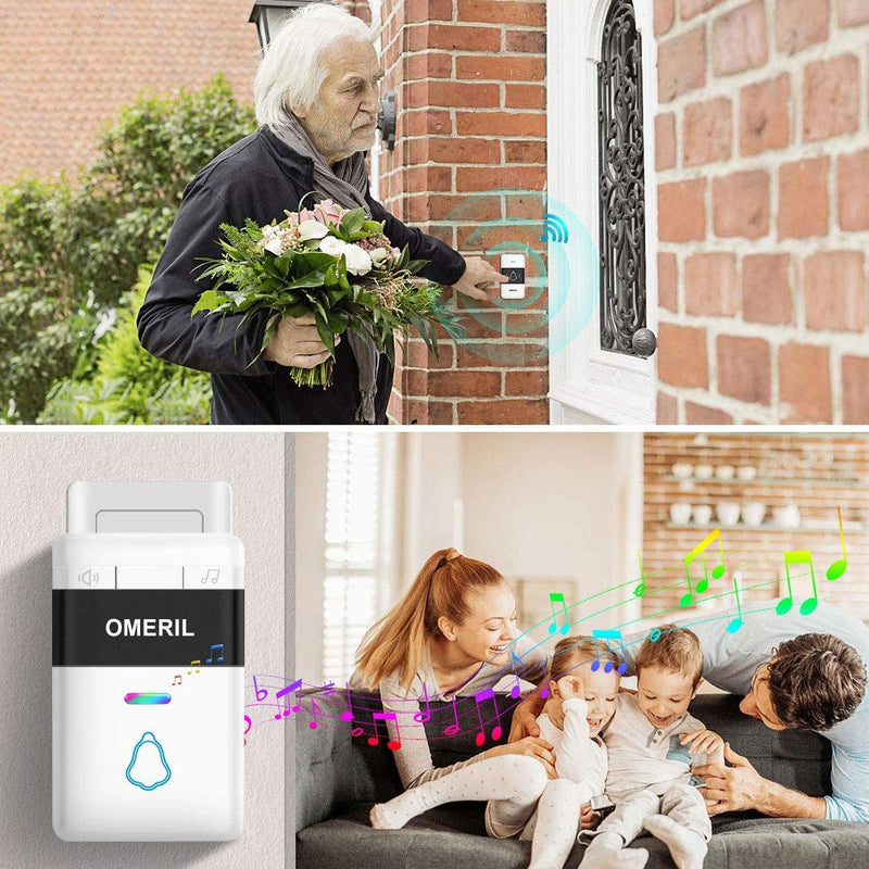 OMERIL Wireless Doorbell with 5 Level Volume, 58 Tunes & Colorful LED Flash, 300M Range, IP55 Waterproof with 2 Plug in Receivers- Model: WD721-WH (White)