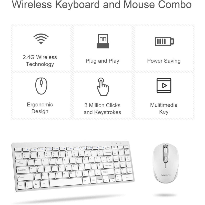 OMOTON Wireless 2.4GHz Keyboard and Mouse Combo- Model: KB135 (White)