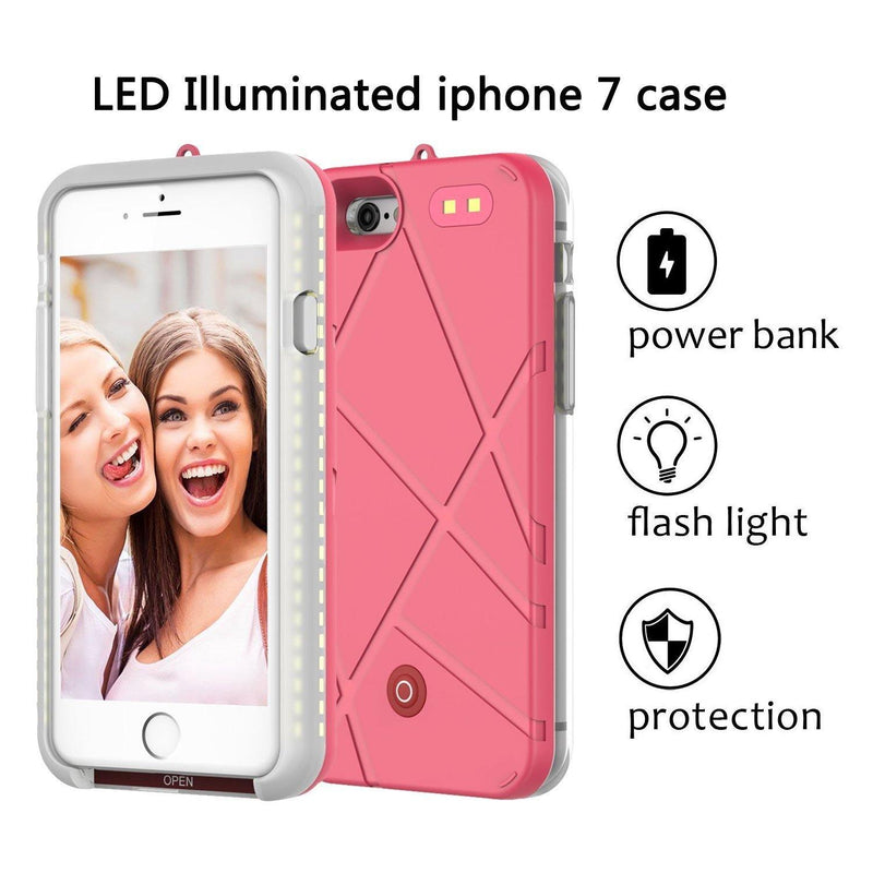 ONTA LED Light Up Luminous Selfie for iPhone 7-8, 4.7 Inch Cell Phone Case-(Pink)
