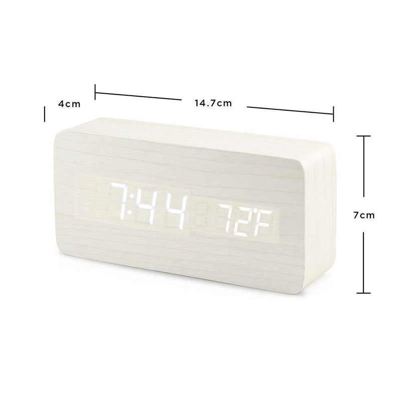 Oct17 Wooden Digital Alarm Clock, Wood Fashion Multi-Function LED Alarm Clock  - White