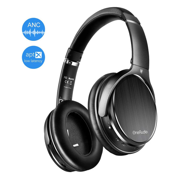 OneAudio Wireless Bluetooth Over Ear Active Noise Cancelling Headphones with Mic-Model: A3-(Black)