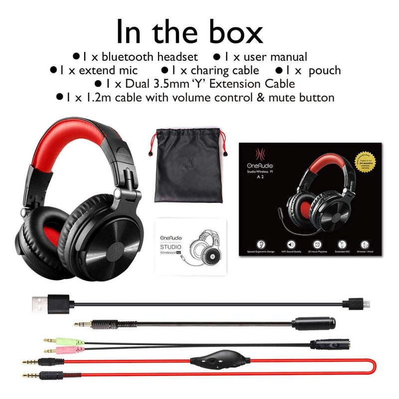 OneAudio Wired/Wireless Gaming Stereo Headsets w/Detachable Mic-Model:A2-(Black/Red)