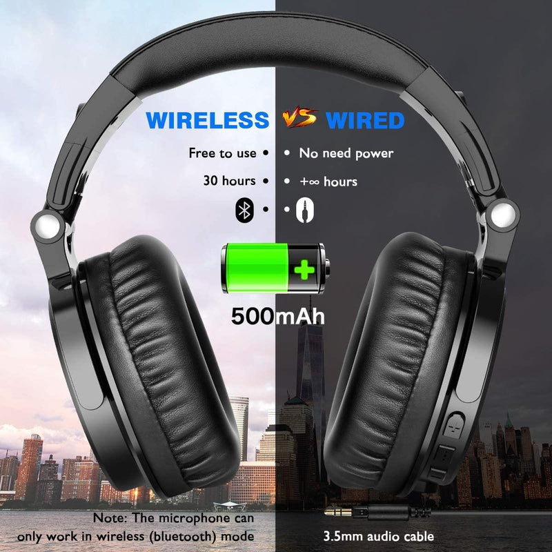 OneOdio Wireless/Wired 30 Hrs Stereo Bluetooth Headsets-(Black)