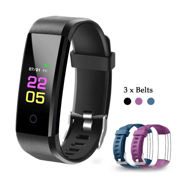 OumuEle Fitness Tracker Hr, Heart Rate Monitor - Fit Tracker - Sleep Monitor - Calorie Counter - Pedometer - (Black)