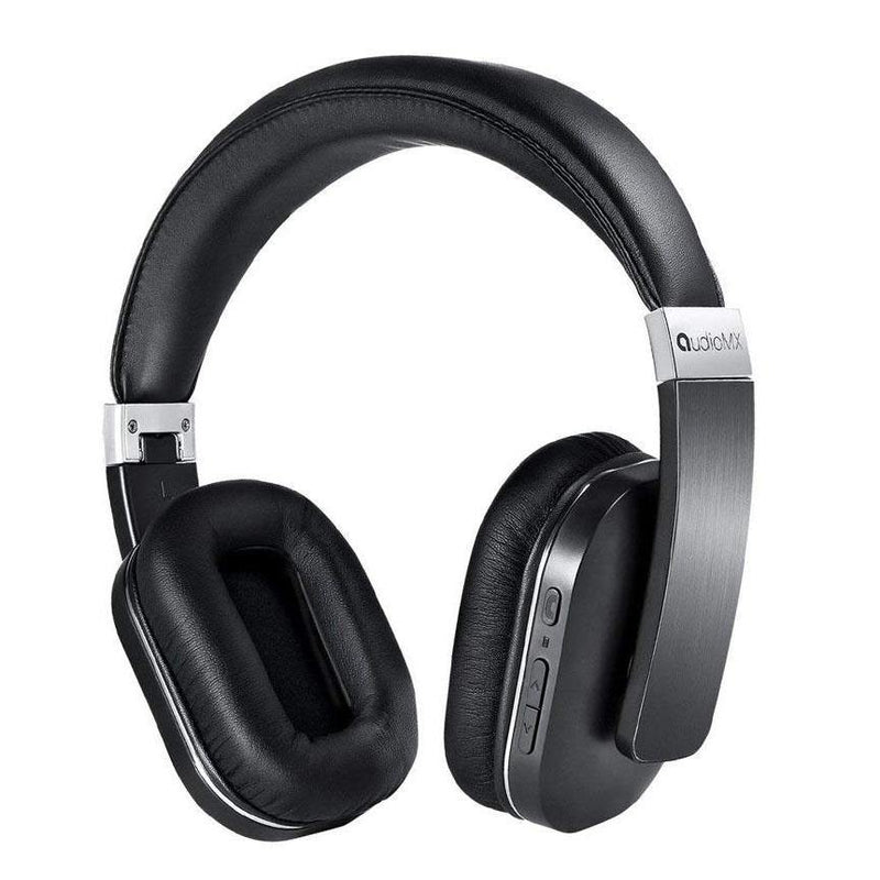 Audiomx Over-Ear Stereo Bluetooth Headphones, Noise Isolation - (Black-Silver)