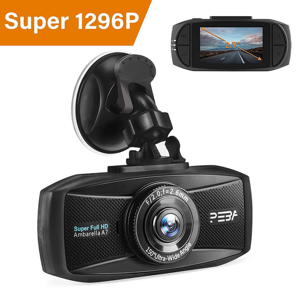 PEBA Car Dash Camera 2.7-Inch Screen 2K Extreme HD Pro 1296P Model : D60 (Black) (SD Card Not Included)