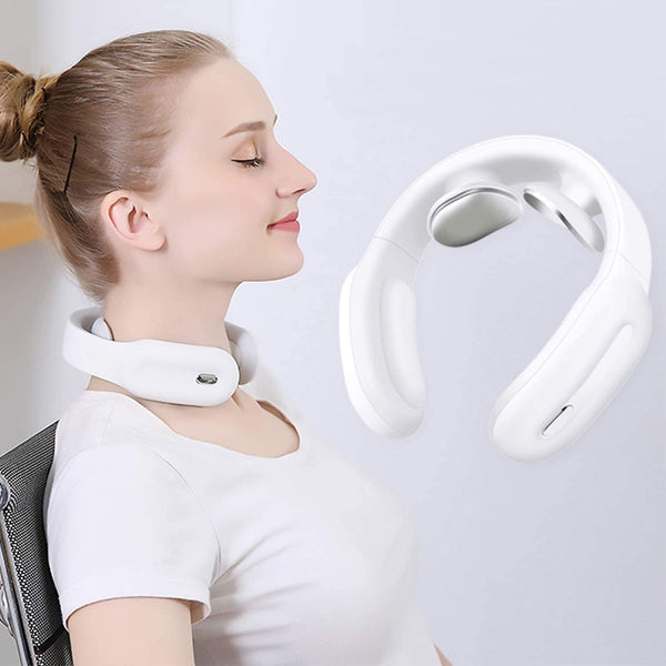 PGG-bro Intelligent Neck Massager Wireless Portable 4D Neck Equipment, Deep Tissue Massage Trigger Point 1600mah Bettery 5w- Model: D12A (White)
