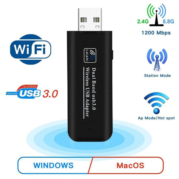 PIAEK 5.8 GHz Wireless USB Adapter 1200 Mbps  USB 3.0 WiFi Dongle - DealsnLots