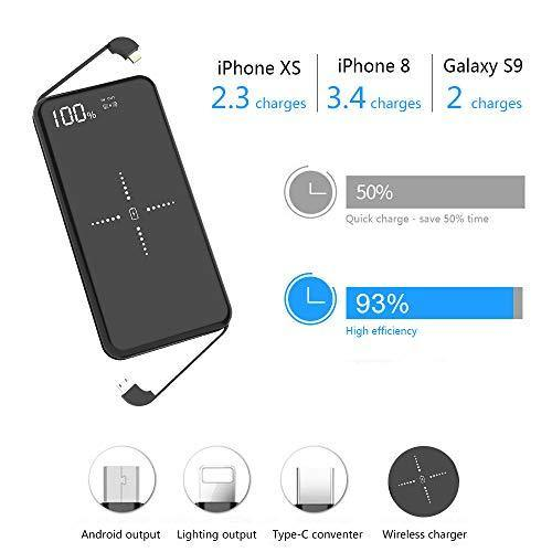 PONSINC Qi Wireless 10000mah Power Bank (17W), High-Speed & Built-in Charging Cable - Model: D1 - (Black)
