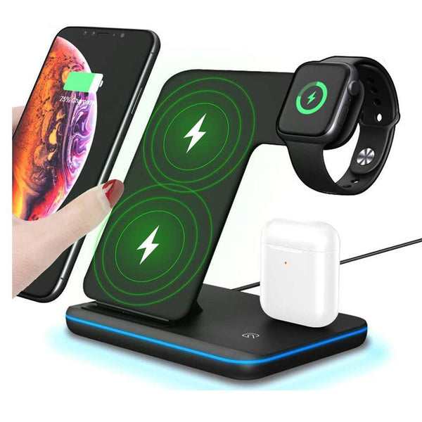 Haobuy 3 in 1 Wireless Charger,15W/10W Qi Fast Wireless Charger Stand [Black]