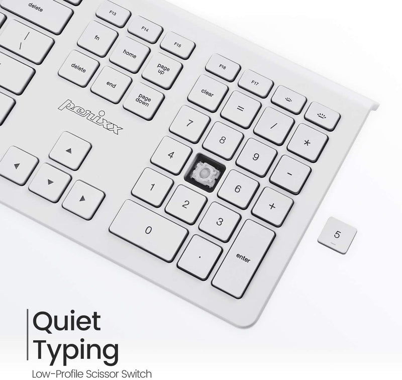 Perixx Wired Backlit Keyboard for Mac OS X - Standard Full Size - Model: PERIBOARD-323MW (White)