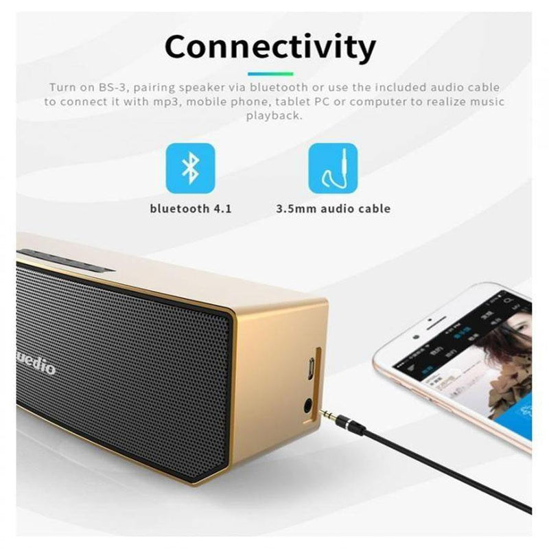BS-3 (Camel) Portable Bluetooth Wireless Stereo Speaker with Mic for Calls- Gold - Bluedio