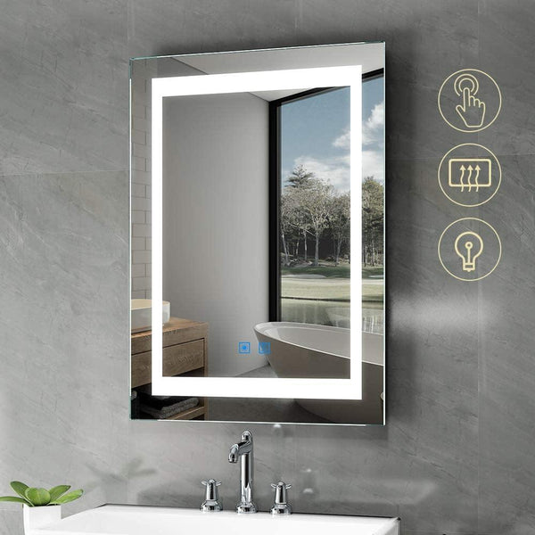 Quavikey LED Illuminated Bathroom Mirror Wall Mounted Mirror With Demister Pad Touch Sensor Switch (White)