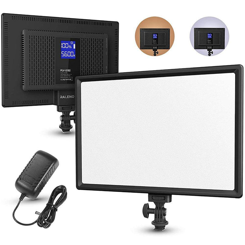 RALENO PLV-S192 Dimmable 3200K-5600K LED Video Soft Light Panel with LCD Display