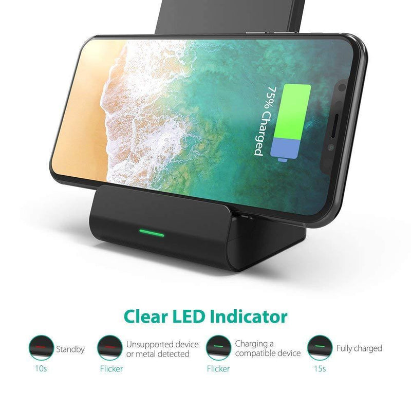 RAVPower Wireless Charging Stand, Qi-Certified Quick Charge Wireless Charger (No Adapter) - Model: RP-PC068  (Black)